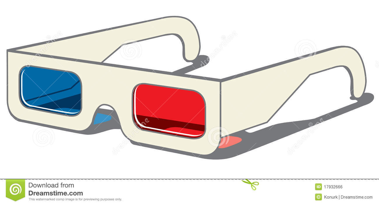 3d Glasses Side Royalty Free Stock Photography.