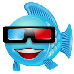 Fish With 3D Glasses Icon, PNG ClipArt Image.