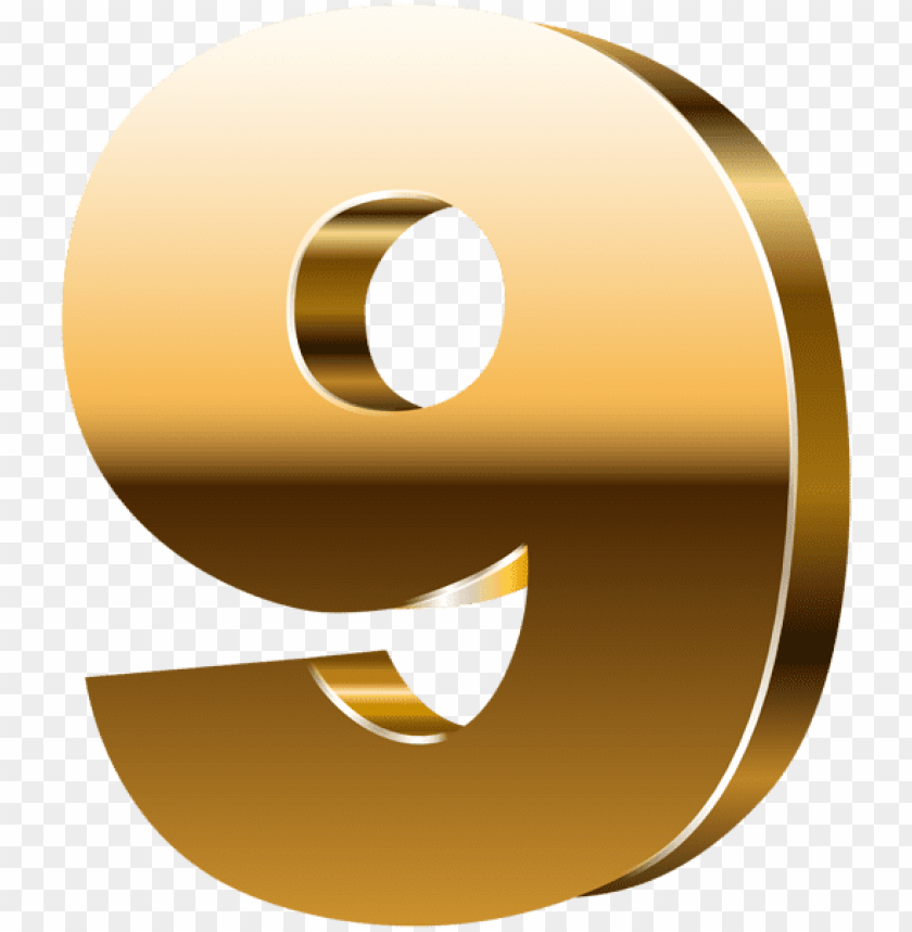 Download number nine 3d gold clipart png photo.