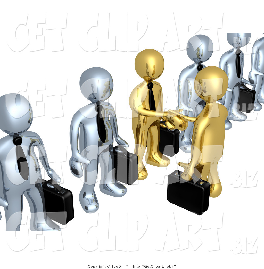 3d Clip Art of a 3d Gold Business Men with Briefcases.