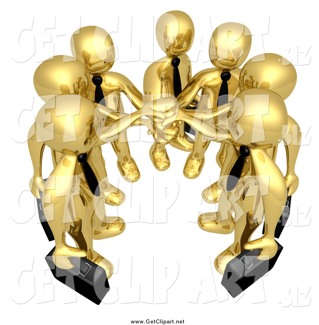 Clip Art of a 3d Team of Gold Men with Their Hands in by.