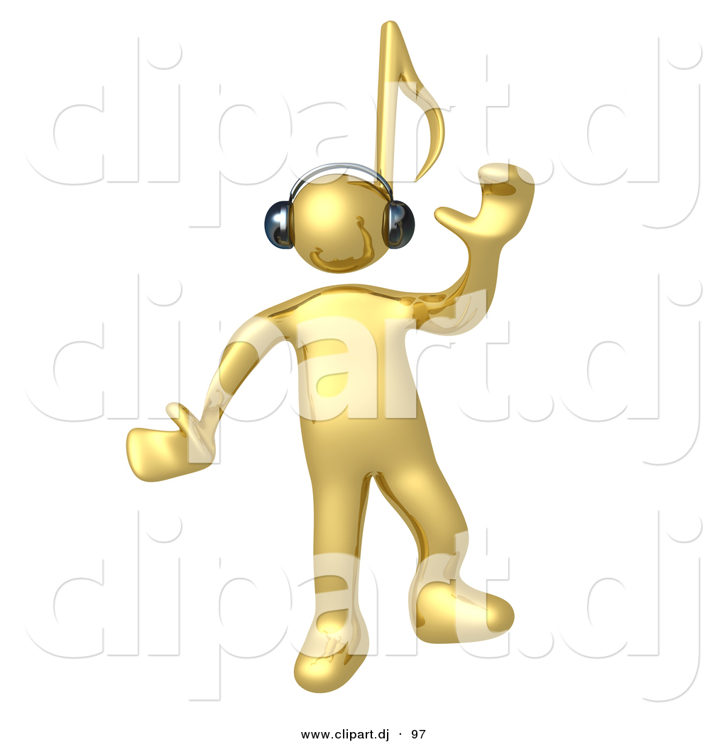 3d Cartoon Clipart of a Happy Gold Man with a Music Note.
