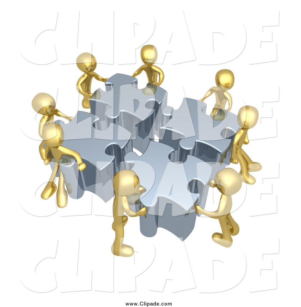 Clip Art of a 3d Team of Gold Men Assembling a Puzzle by.