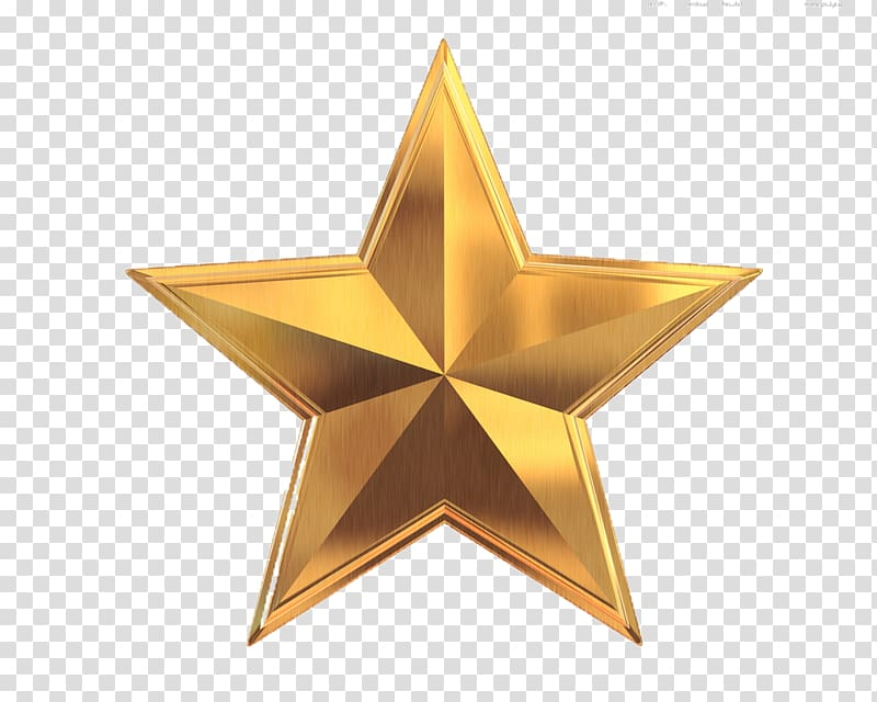 Yellow star illustration, Gold 3D computer graphics , gold.