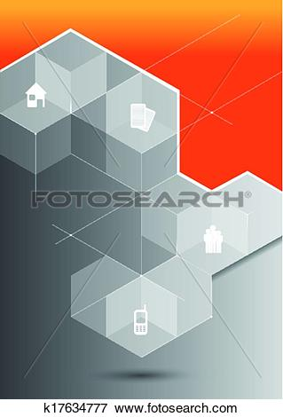 Clip Art of Vector abstract orange background with 3D gray cubes.