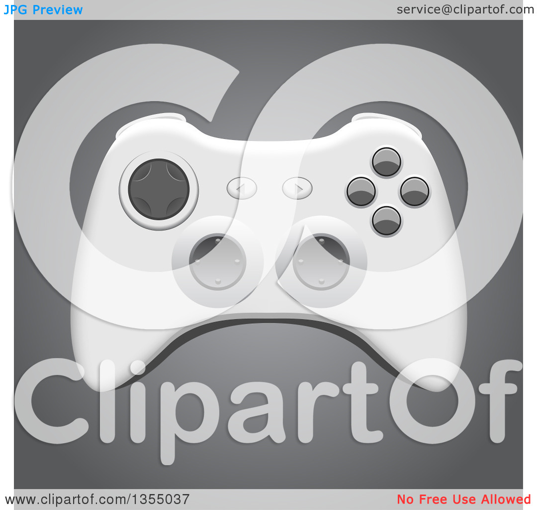 Clipart of a 3d Video Game Controller on Gray.