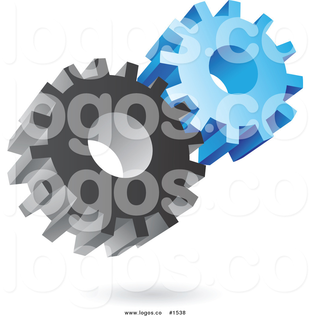 Royalty Free Vector 3d Gray and Blue Gear Wheel Icon Logo by.