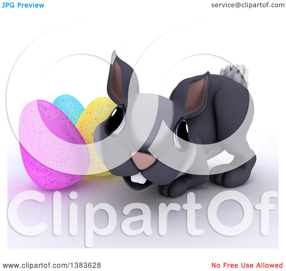 Clipart of a 3d Cute Gray Bunny Rabbit with Easter Eggs, on a.