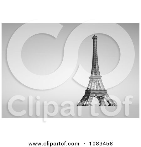 Clipart 3d Gray Eiffel Tower Background With Text Space.