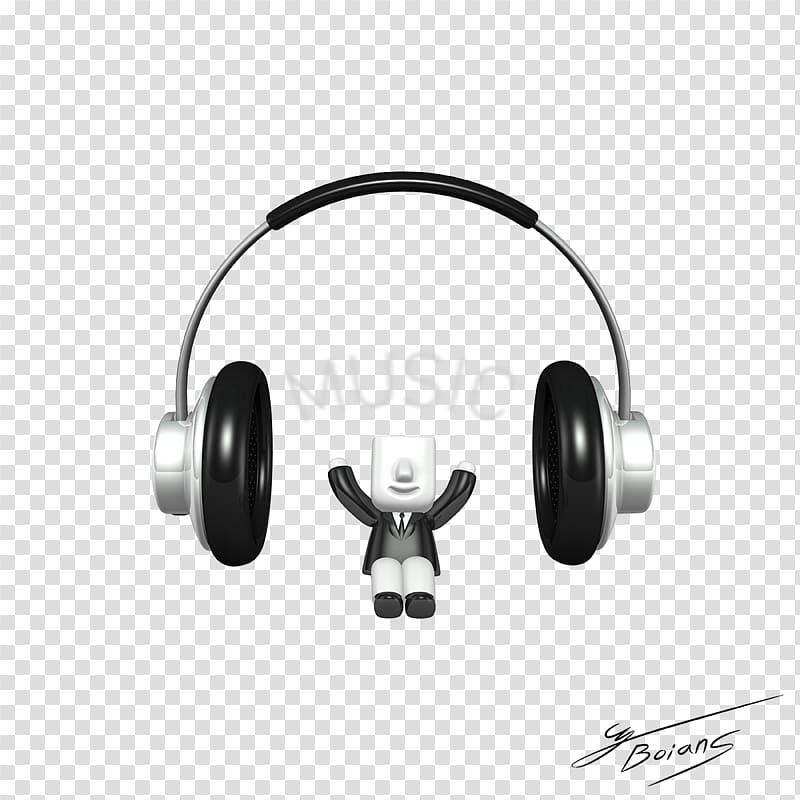 Headphones , 3D villain transparent background PNG clipart.