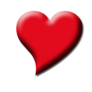 Free Clipart Picture of a Fat, Red Heart with a Crooked Tail.