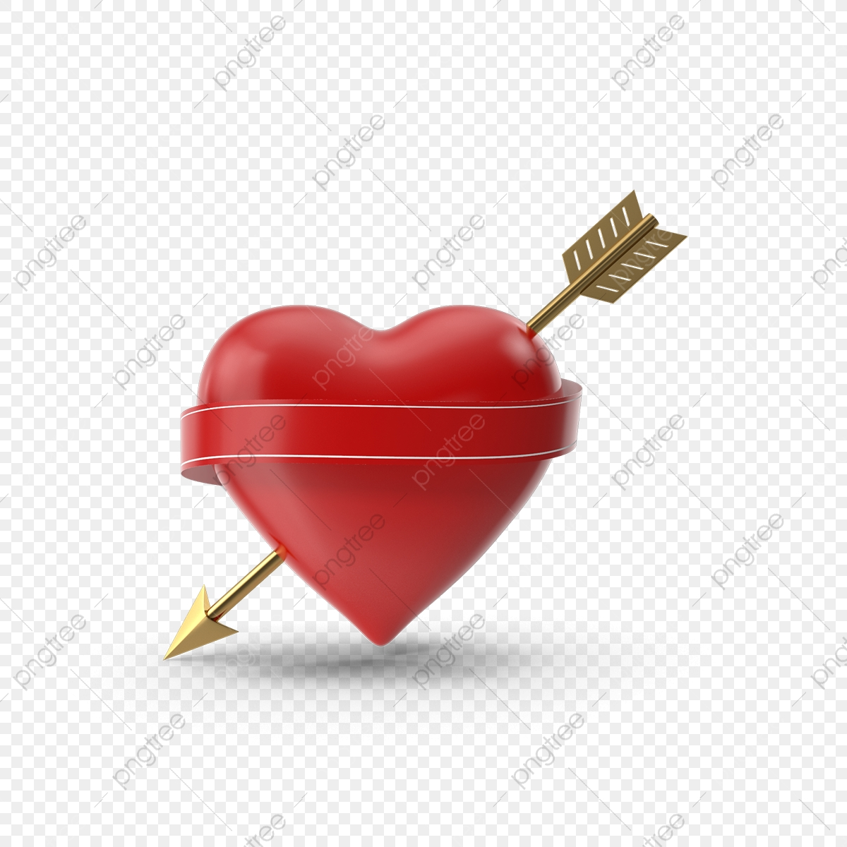 3d Heart With Arrow And Banner, 3d, Heart, Red PNG Transparent.