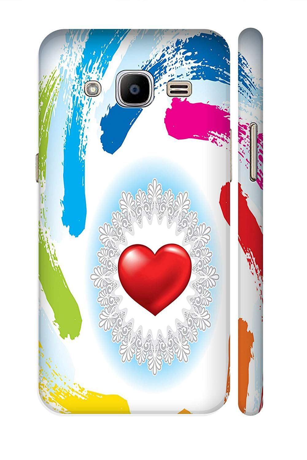 AMAN Circle Heart 3D Back Cover for Samsung Galaxy J2.