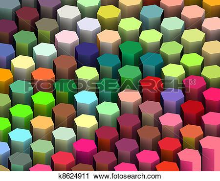 Clipart of isometric 3d render of hexagon in multiple bright.