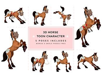 Farm Animals, Horse Toon Character Clipart.