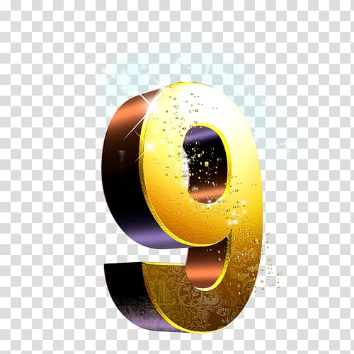 Gold 9 3D , Icon, 9 transparent background PNG clipart.