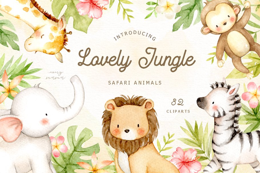 Lovely Jungle Safari Animals Clipart ~ Illustrations.