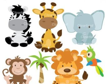 INSTANT DOWNLOAD, jungle animal clipart, girly jungle clip.