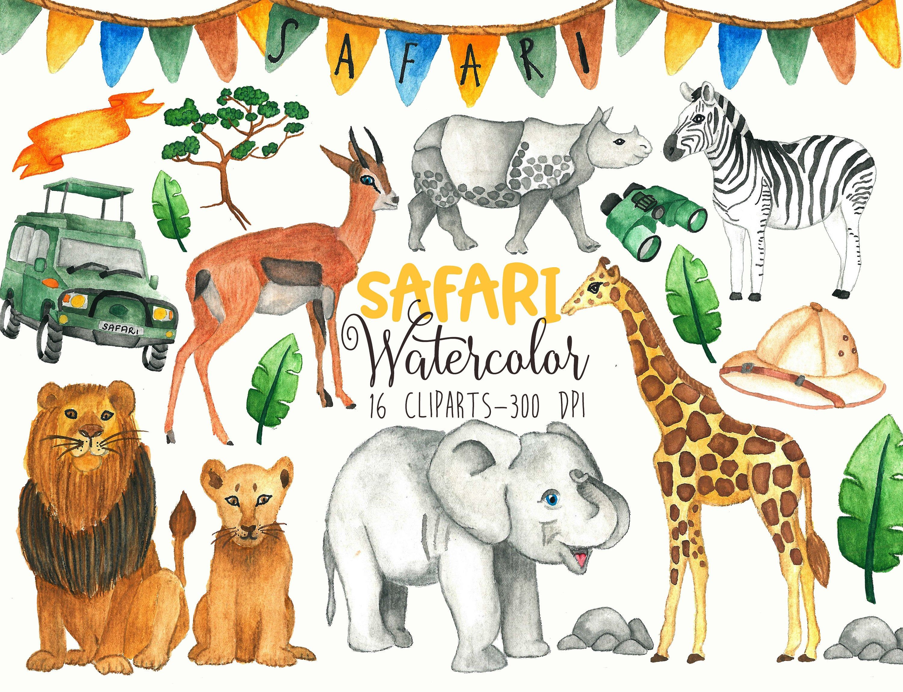 Safari animals Clipart Watercolor Safari clipart Jungle.
