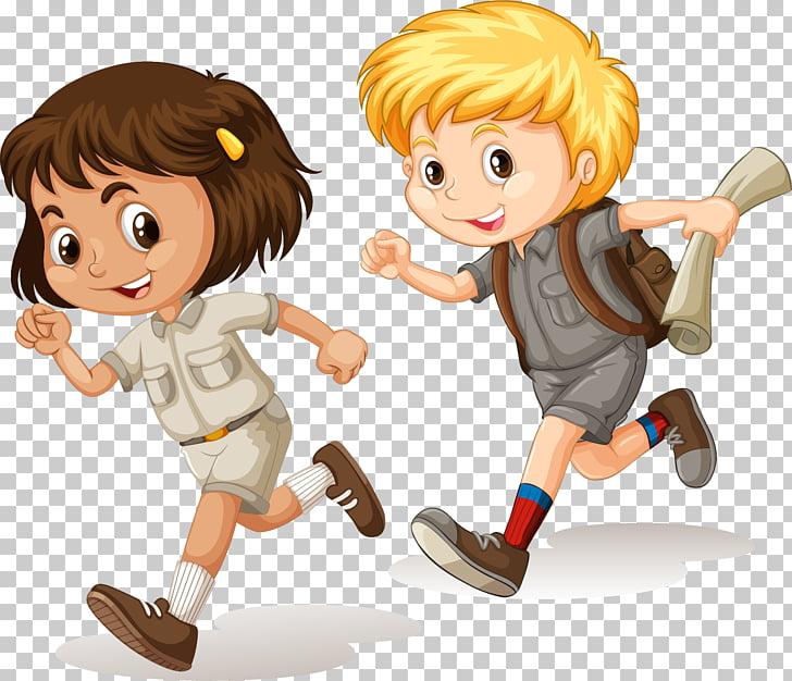 Cartoon Child Running Illustration, painted children running.