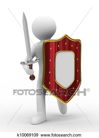 Knight with sword on white background. Isolated 3D image.