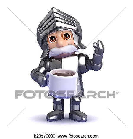 3d Knight tea break Clipart.