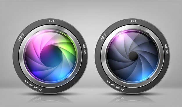 realistic clipart with two camera lenses, photo objectives.