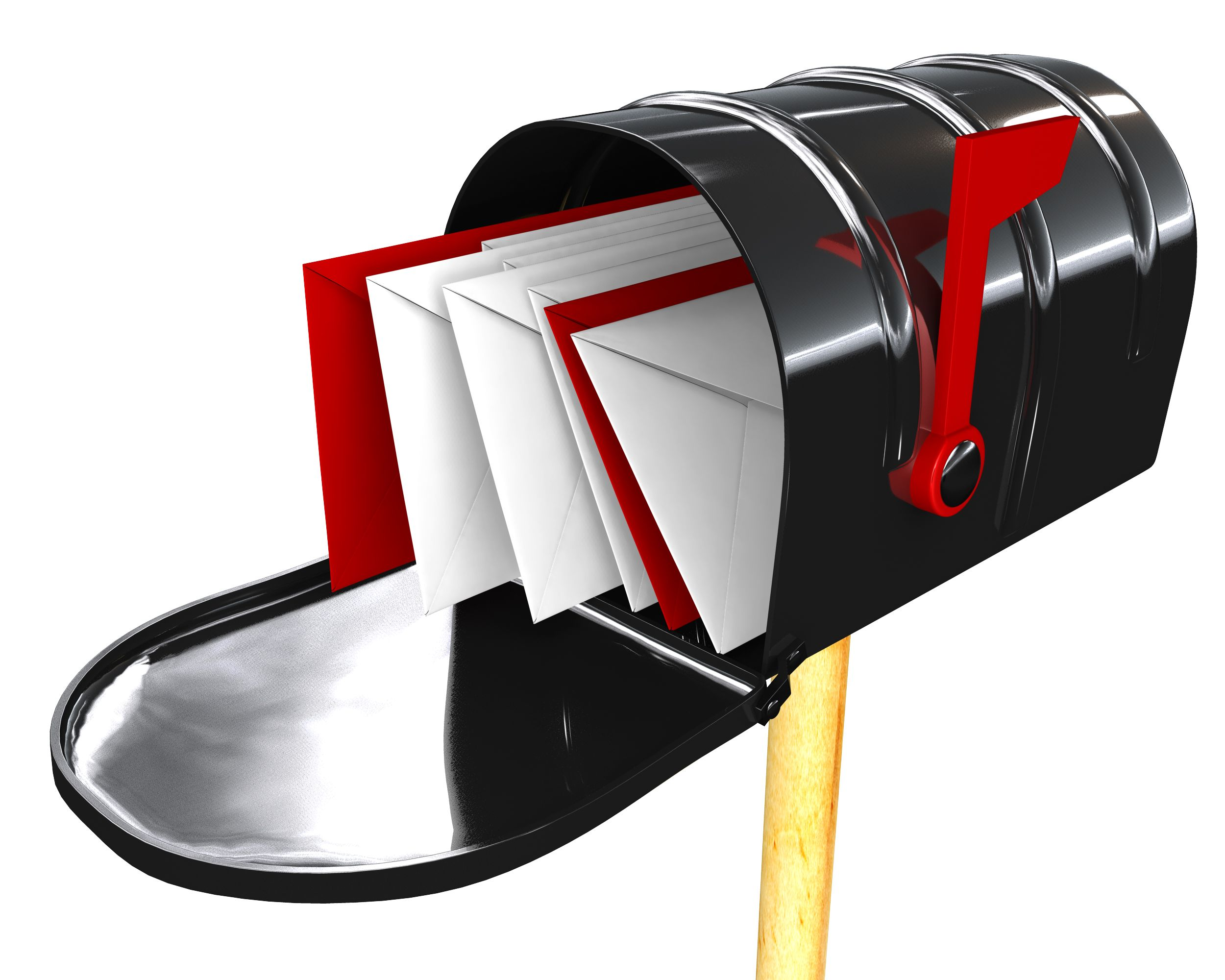 3D Post Box With Letters Stock Photo.