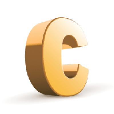 3D Golden Letter: C.