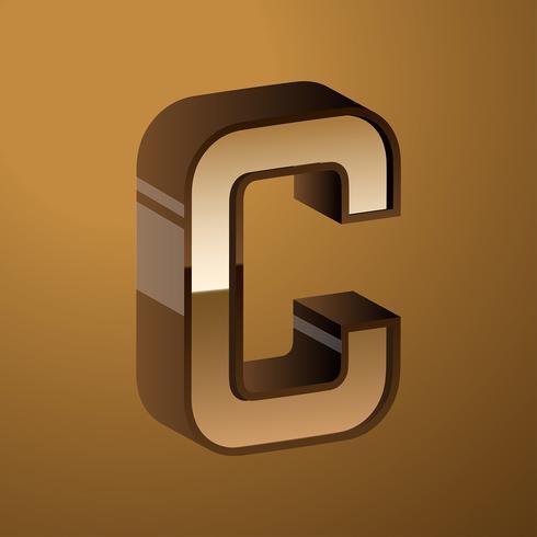 Letter C Typography 3D Vector.