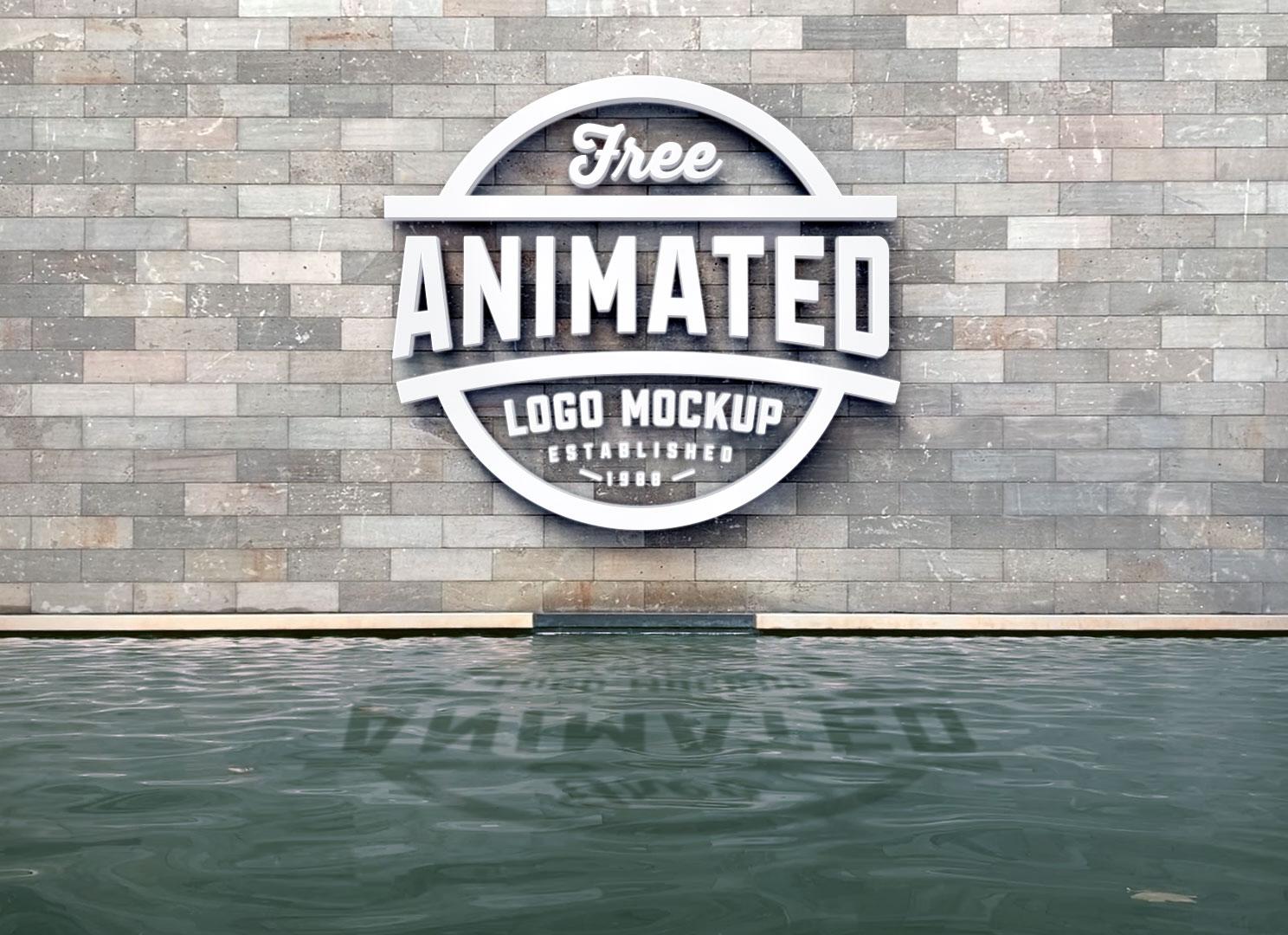 Free 3D Logo Animated Mockup PSD.