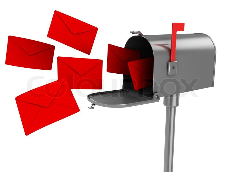 3d illustration of mailbox with many.