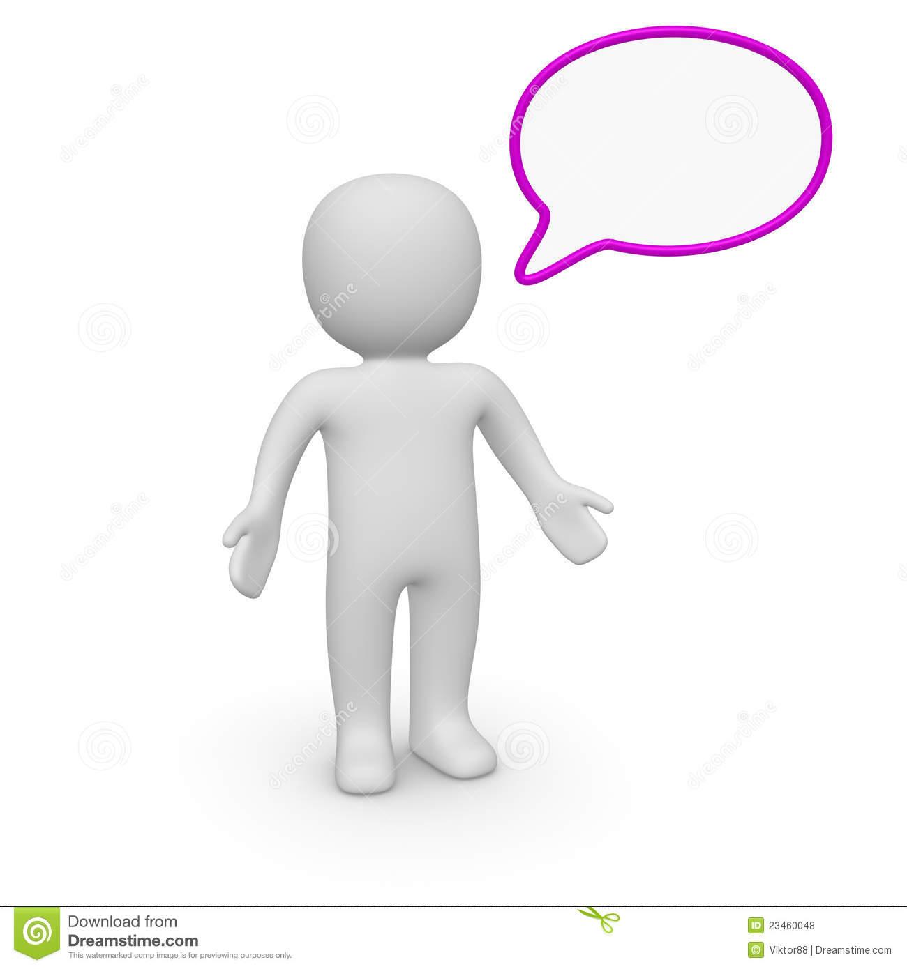 3d man with speech bubble stock illustration. Illustration of.