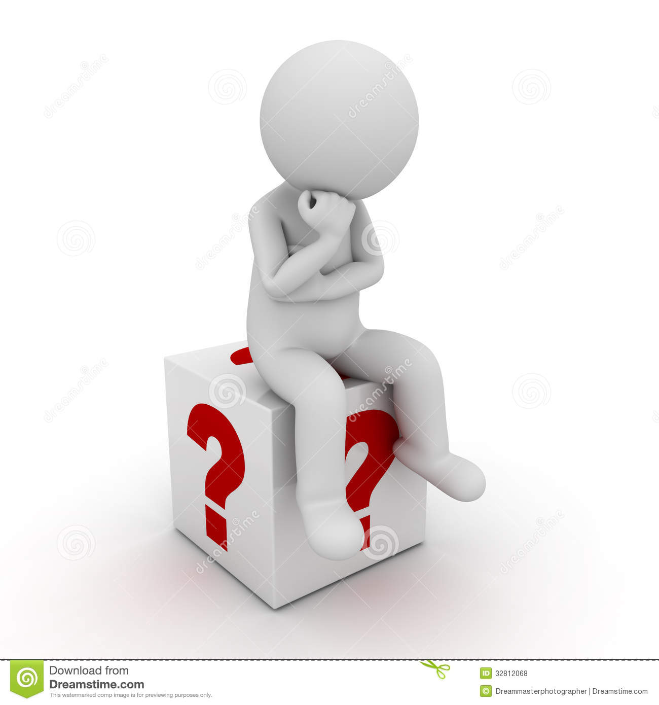 3d Man Sitting And Thinking On Red Question Marks Box Over White.