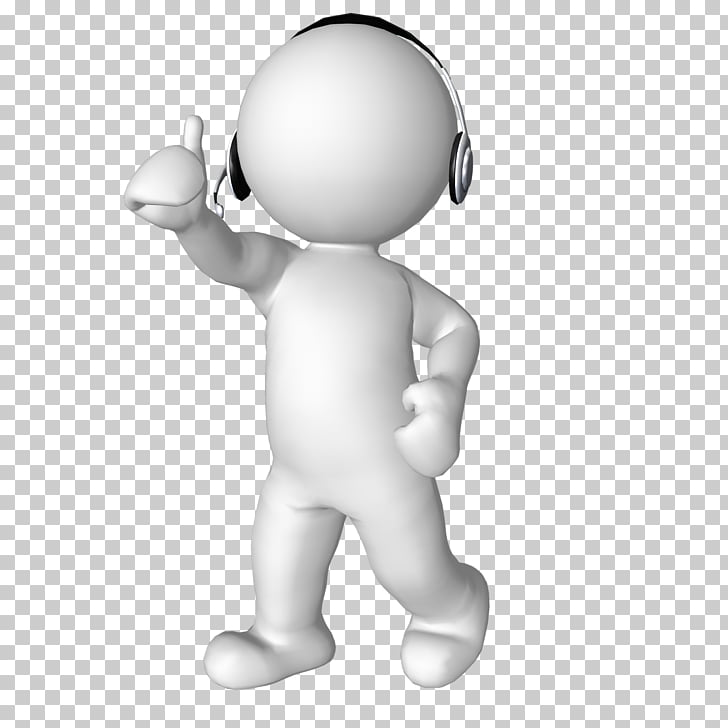 3D computer graphics Headphones , thinking man, white figure.