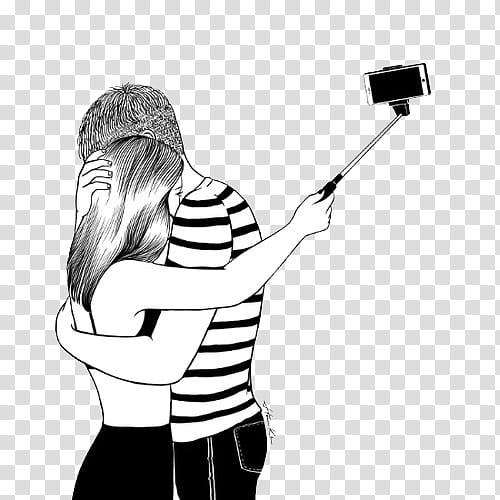 Art , man hugging woman taking selfie transparent background.