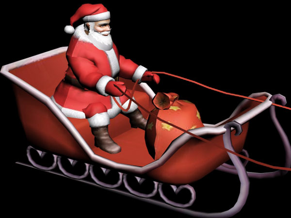 Santa Claus sleigh clipart, (.3ds) 3D Studio Max software, Life Forms.
