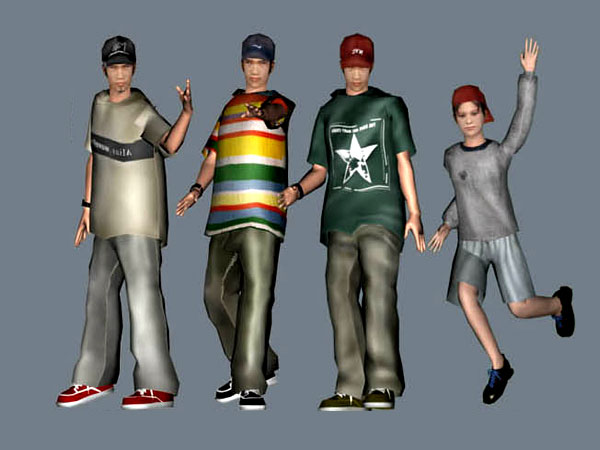 3d clipart teenagers gang men, (.max) 3ds max software, Life Forms.