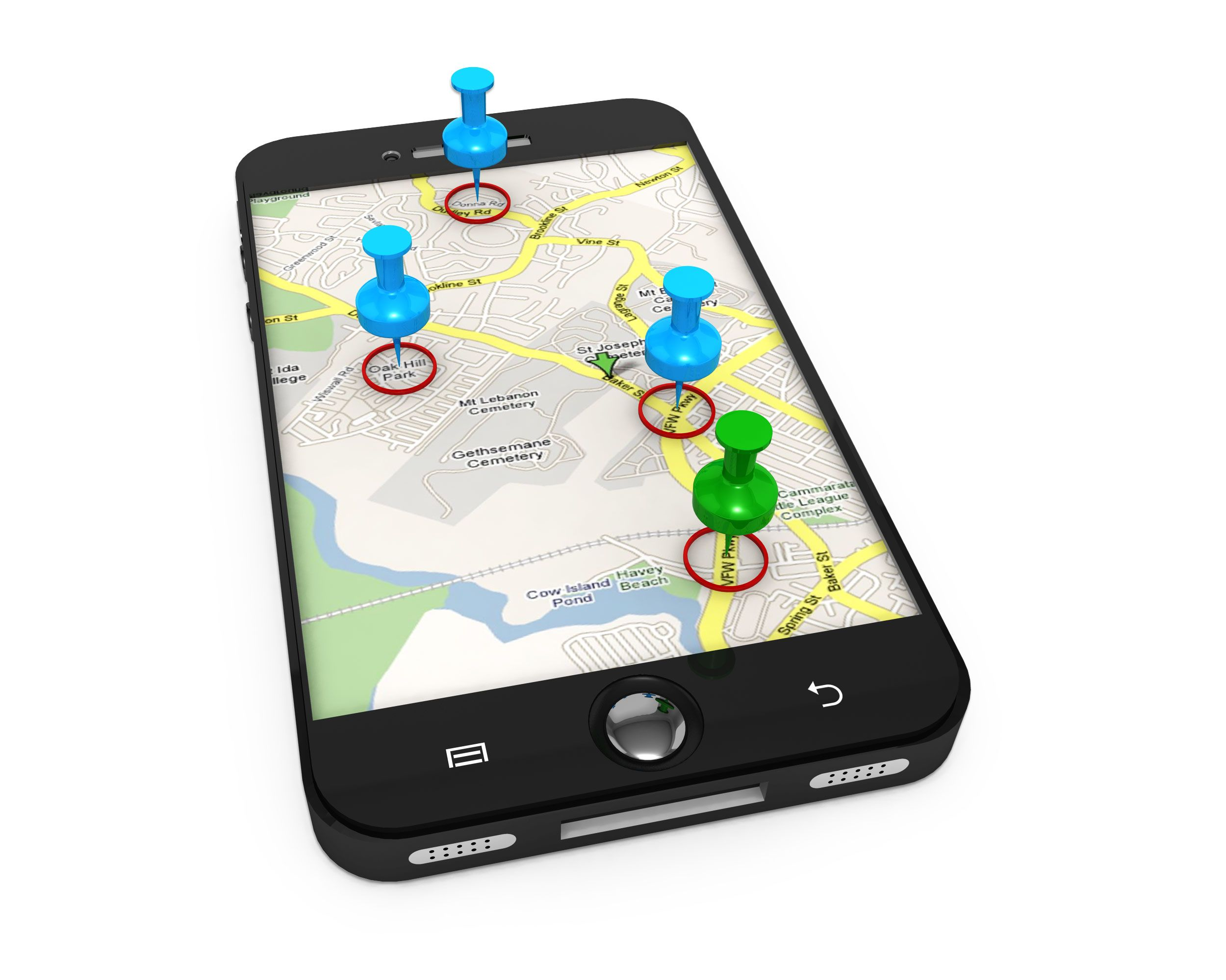 3D Graphic Of Map On Mobile With Clipart Pins Stock Photo.