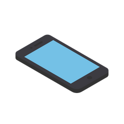 Isometric, Smartphone, Front, Mobile, Device, Grid, View, 3d Icon of.