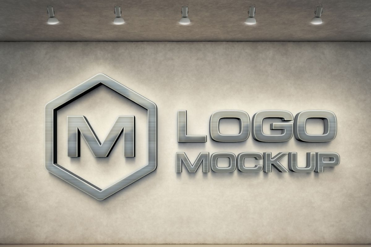 7 logo mockups, 3d wall mock up.