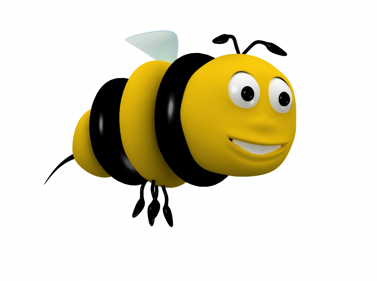 Bee cartoon character 3D Model animated rigged .max .obj .3ds .fbx.