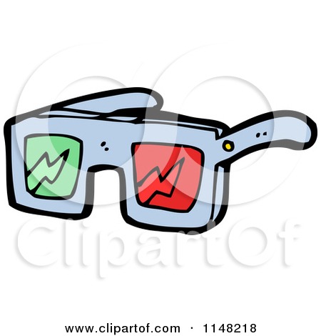 Cartoon of a Pair of 3d Movie Glasses.