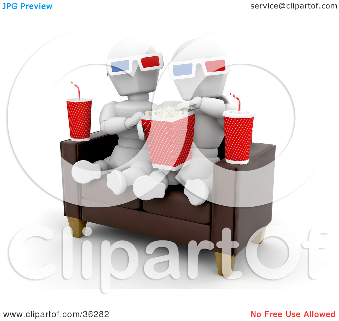 Clipart Illustration of a White Character Couple On A Sofa, Eating.