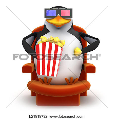 Clip Art of 3d Penguin eats popcorn whilst watching a 3d movie.