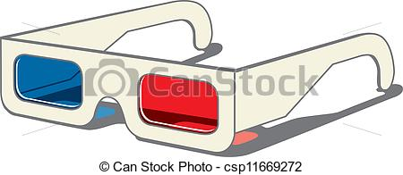 Vectors Illustration of 3D movie eyeglasses.
