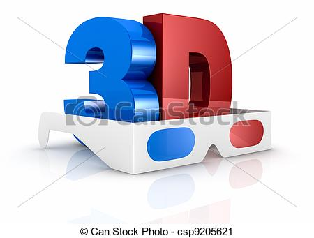 Clipart of concept of 3d movie technology.