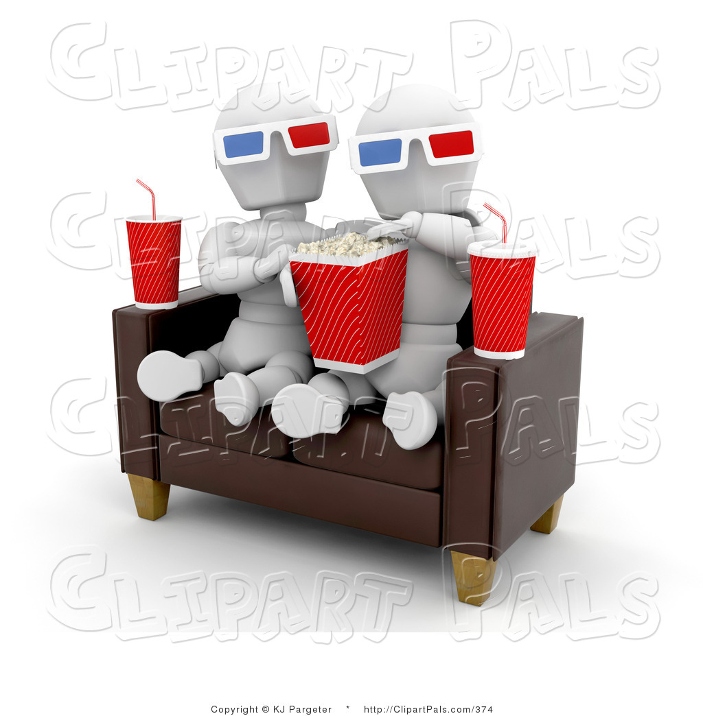 Pal Clipart of a White Character Couple on a Sofa, Eating Popcorn.