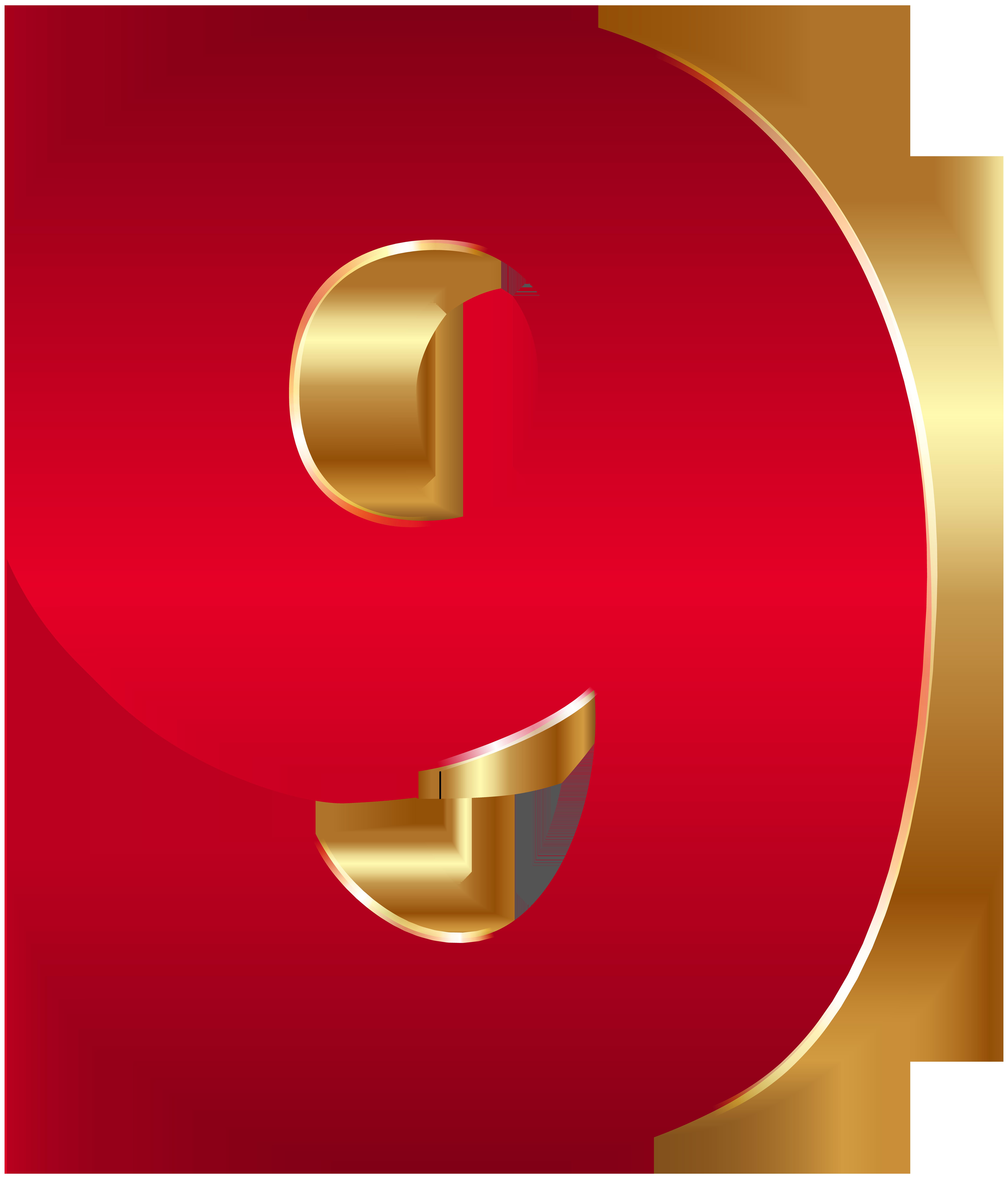 3D Number Nine Red Gold PNG Clip Art Image.