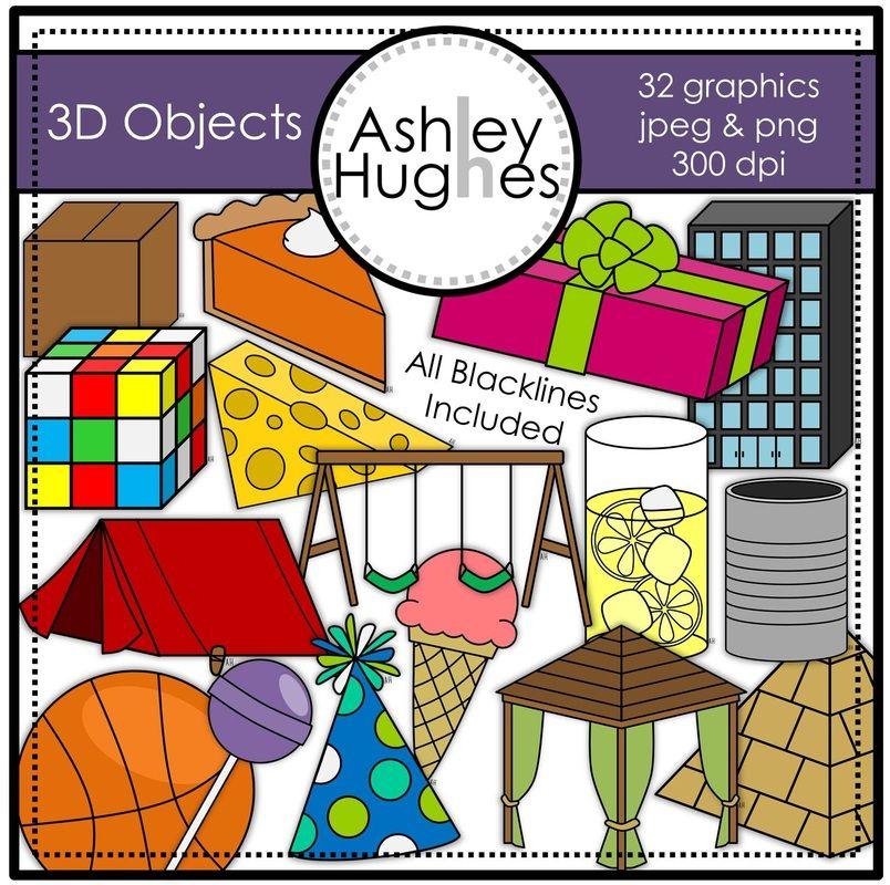 3D Objects Clipart {A Hughes Design}.